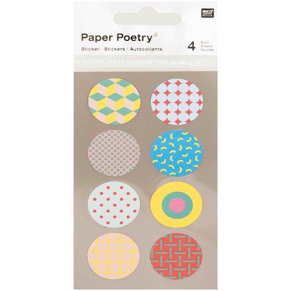 Paper Poetry Sticker rund 90´s 4 Bogen