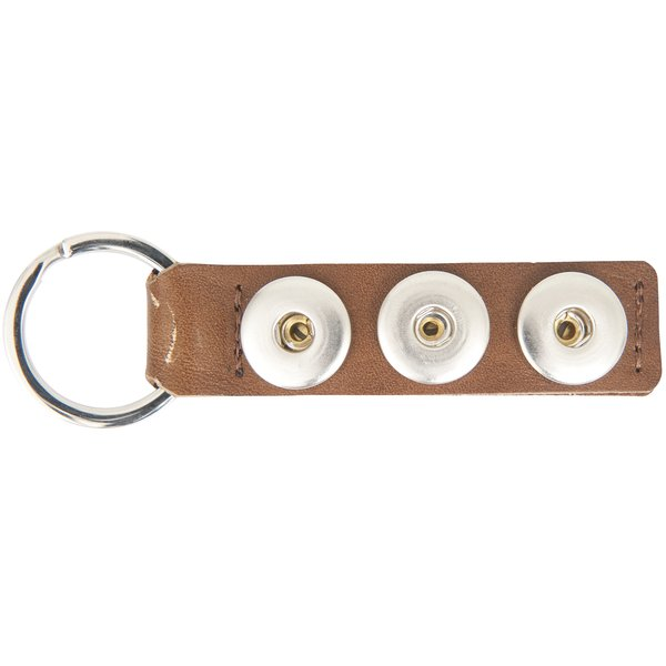 Rico Design Schlüsselanhänger braun 10x3cm mit Druckknöpfen