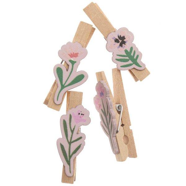 Ohhh! Lovely! Dekoklammern Blumen Mix natur 4 Stück