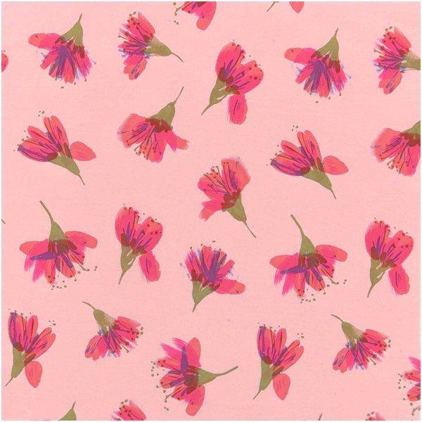 Rico Design Stoffabschnitt Druckstoff Aquarellblüten lachs 50x140cm
