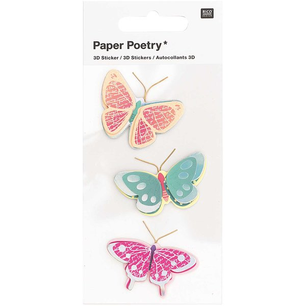 Paper Poetry 3D-Sticker Schmetterlinge gemustert 3 Stück