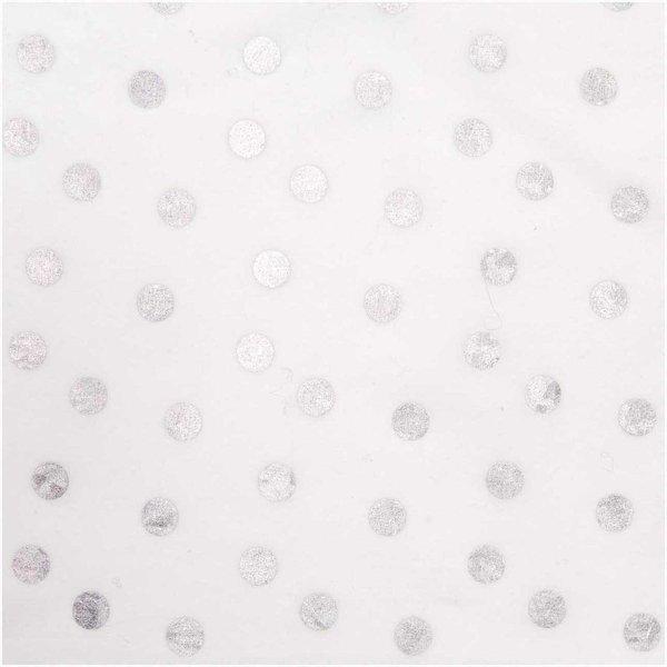 Rico Design Druckstoff Punkte weiß 25x70cm beschichtet