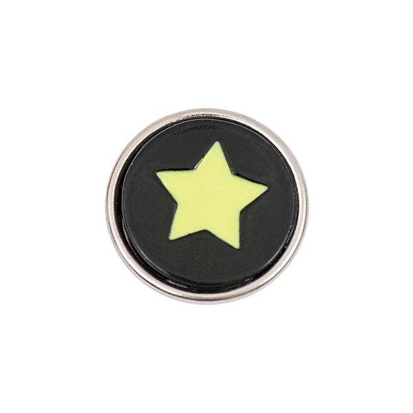 Rico Design Knopf Stern gelb-schwarz 14mm