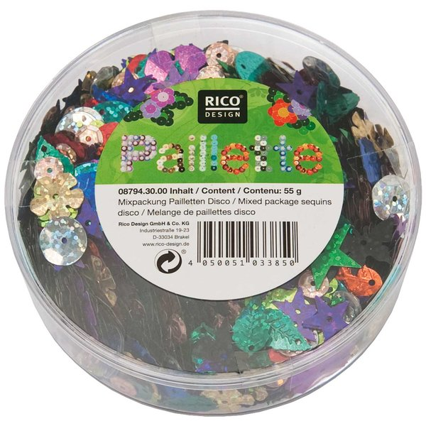 Rico Design Pailletten Mix Disco mehrfarbig 55g