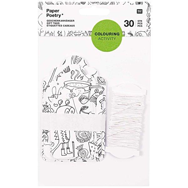 Paper Poetry Geschenkanhänger zum Ausmalen 30 Stück
