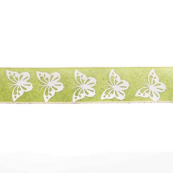 Dekorband Schmetterlinge grün-weiß 2,5cm 5m