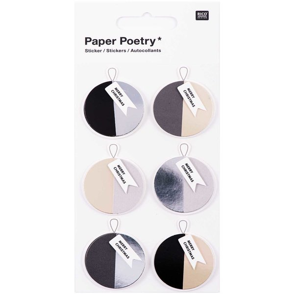 Paper Poetry 3D Sticker Kugeln schwarz-grau Hot Foil
