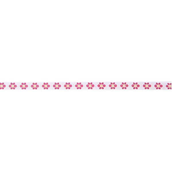 Rico Design Ribbons gewebte Blumen rosa-weiß 2m