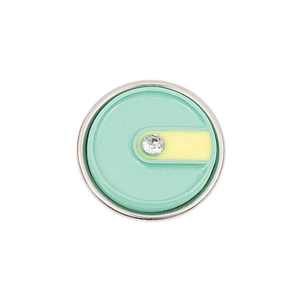 Rico Design Knopf Schlitz gelb-grün mit Streifen 14mm