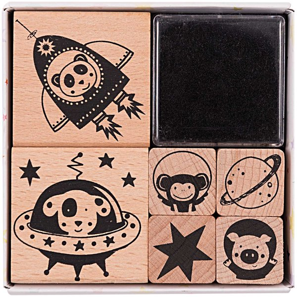 Paper Poetry Stempelset kleine Astronauten 6 Stück