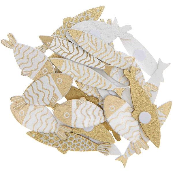 Ohhh! Lovely! Holzsticker Fisch Mix gold-weiß 24 Stück