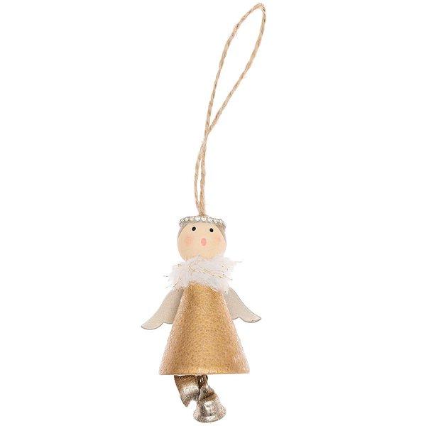 Ohhh! Lovely! Holzhänger Engel mit Glöckchen gold 8cm