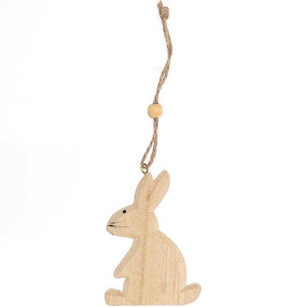 Hänger Hase aus Holz natur 15cm