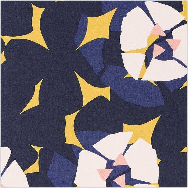 Rico Design Druckstoff Okina Hana Blumen senfgelb-rosa 50x140cm