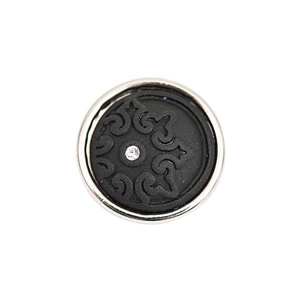 Rico Design Knopf Ornament schwarz mit Strass 14mm