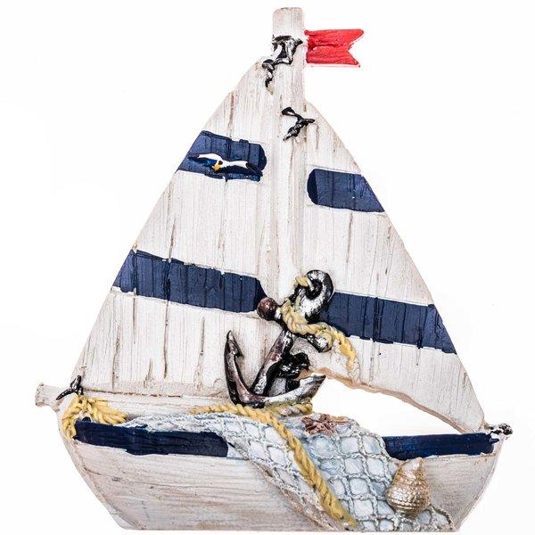 Segelboot weiß-blau 10,5cm