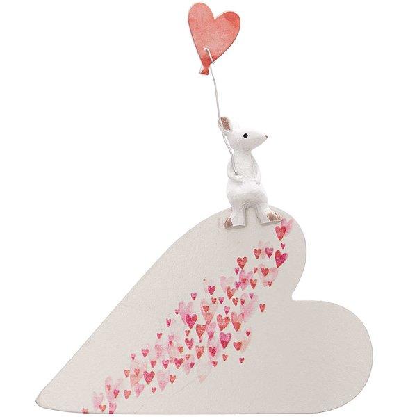 Deko-Herz mit Maus weiß-rot 14x13,5cm