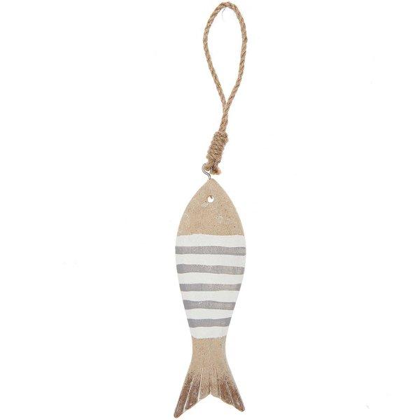 Ohhh! Lovely! Holzhänger Fisch gestreift grau-weiß 18,5cm