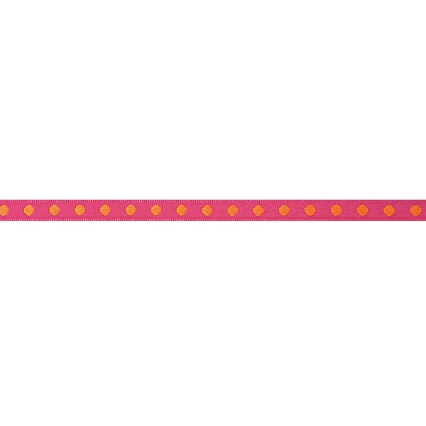 Rico Design Ribbon gewebte Punkte pink-orange 2m