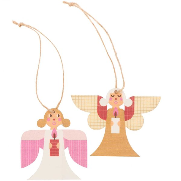 Ohhh! Lovely! Holzhänger Engel Mix rosa-gold 2 Stück