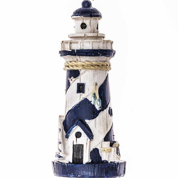 Leuchtturm mit Segelboot blau-weiß 10cm