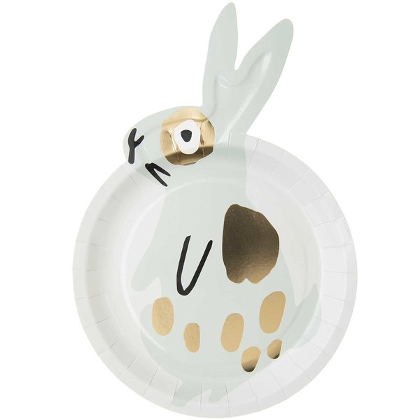 YEY! Let's Party Pappteller Hase mint 23x33cm 12 Stück