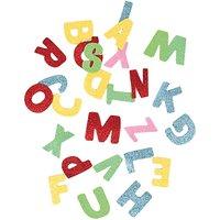 Rico Design Moosgummi Buchstaben Glitter mehrfarbig selbstklebend
