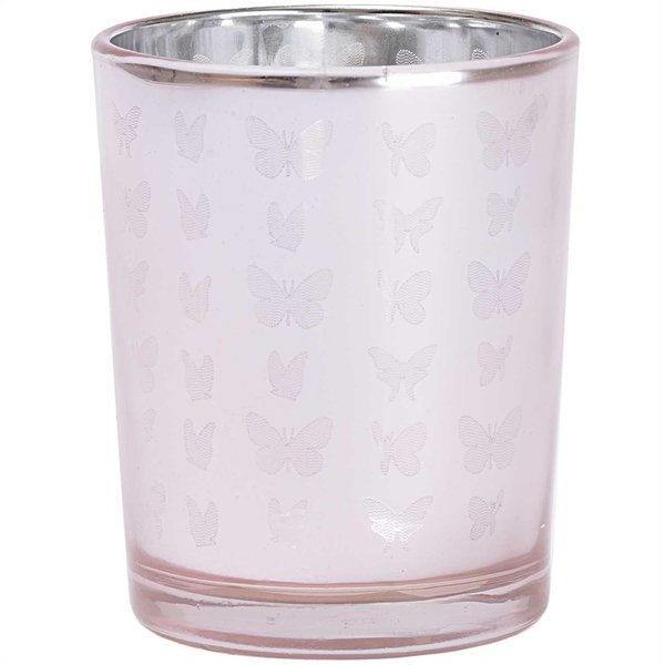 Teelichtglas mit Schmetterlingen pink 6,5cm