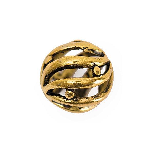 Jewellery Made by Me Metallkugel Streifen altgold 14mm 3 Stück