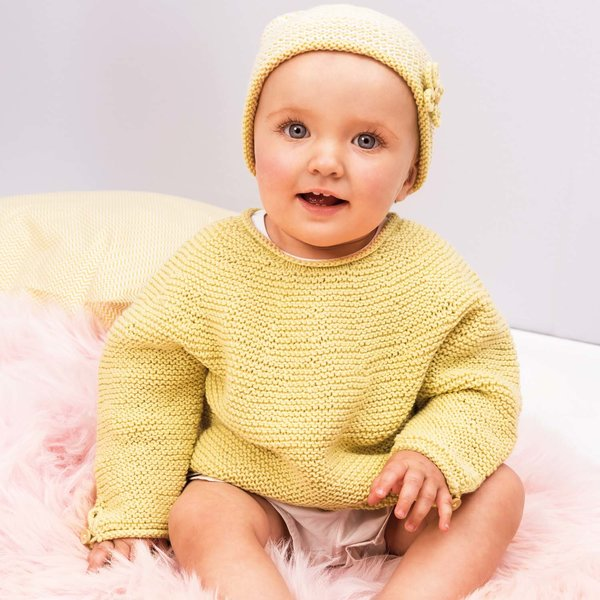 Strickset Pullover & Mütze Modell 12/13 aus Rico Baby Nr. 024 Gr. 62/68