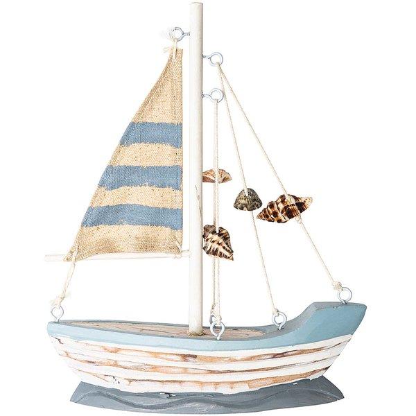 Segelboot mit muscheln blau 18x15cm