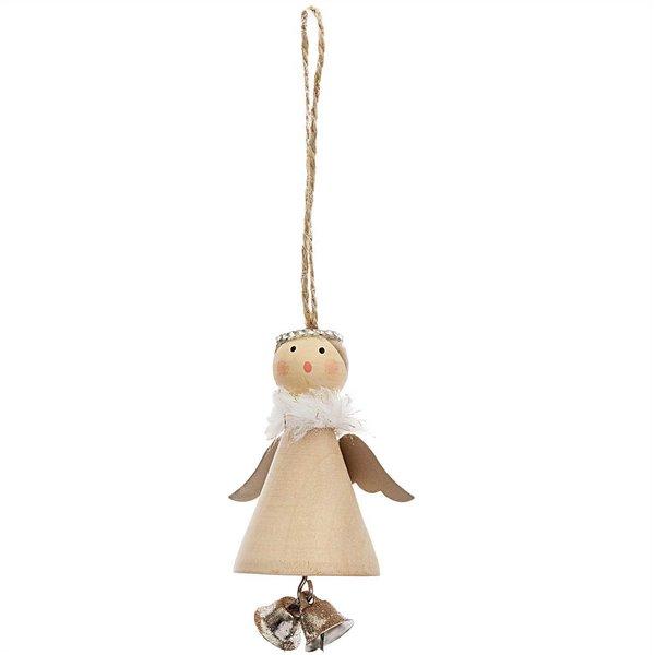 Ohhh! Lovely! Holzhänger Engel mit Glöckchen natur 8cm