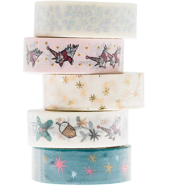Paper Poetry Tape Set Magical Christmas 1,5cm 10m 5 Stück