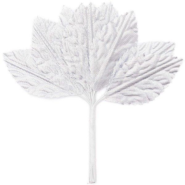Deko Blätter im Bund silber 4,8x2,5cm
