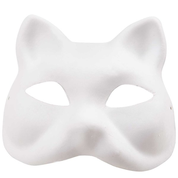 Rico Design Maske Katzengesicht weiß 18x17cm