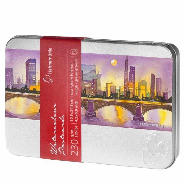 Hahnemühle Aquarellpostkarten in Metallbox 10,5x14,68cm 30 Blatt