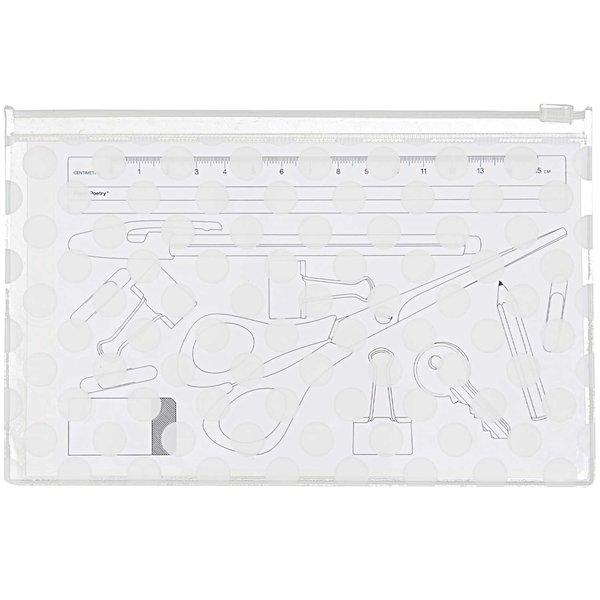 Paper Poetry Utensilientasche transparent Punkte weiß 13x20,7cm