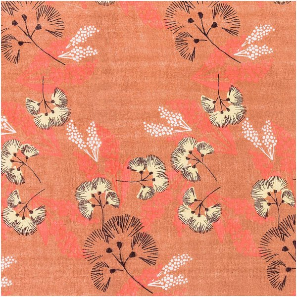 Rico Design Musselin-Druckstoff Jardin Japonais Blumen rostrot 140cm