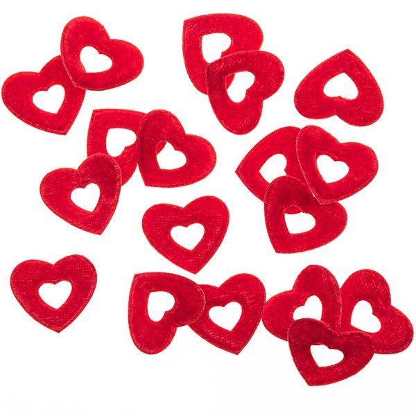 Streu Herzen Samt rot 3cm 48 Stück