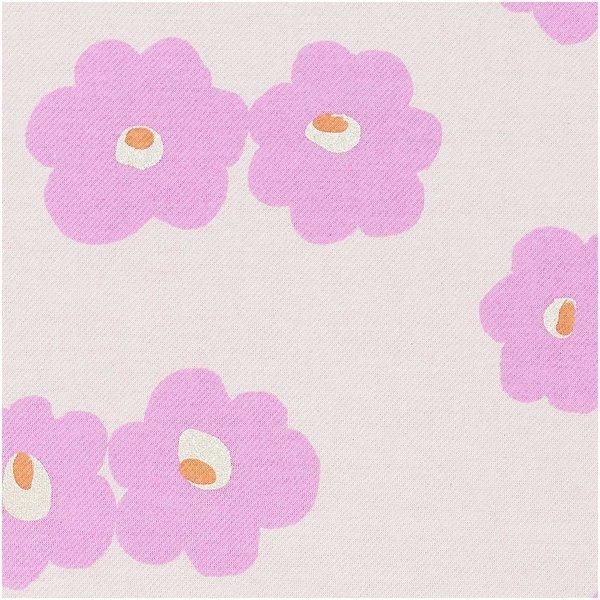 Rico Design Sweatshirt-Stoff  Aloha Blumen rosa metallic 170cm