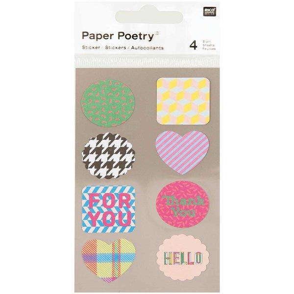 Paper Poetry Sticker Etiketten for you 4 Bogen