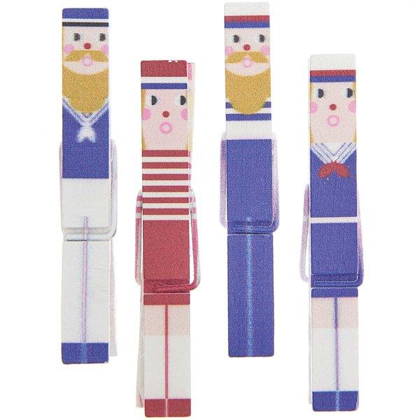 Ohhh! Lovely! Dekoklammern Seeleute Mix blau-rot 1x7cm 4 Stück