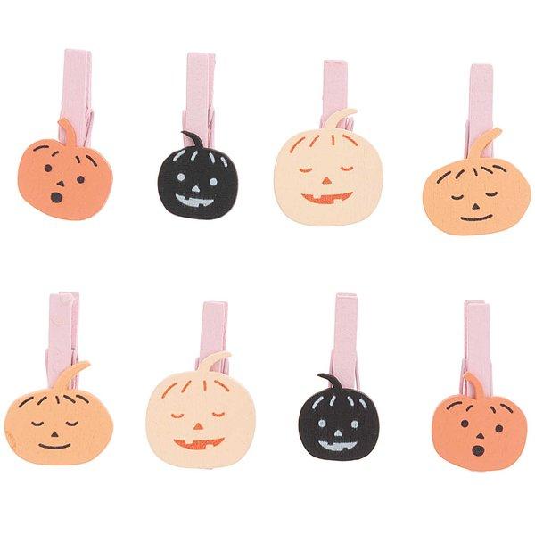 Ohhh! Lovely! Holzclips Kürbis Mix orange-schwarz 8 Stück