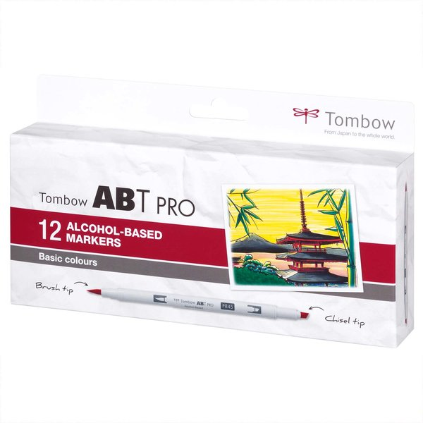 Tombow ABT PRO Basic Colours Alkoholbasierte Marker 12teilig