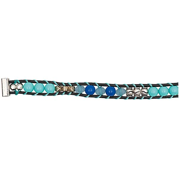 Rico Design Perlenband türkis-blau-silber M/L 10x180mm