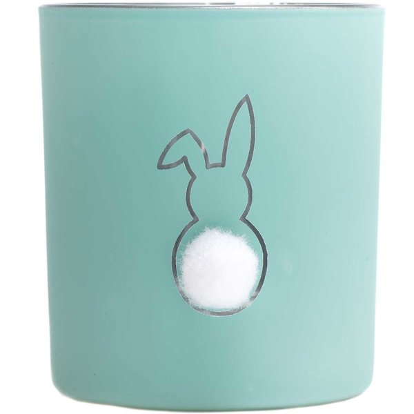 Teelichtglas Hase aqua 8x7cm