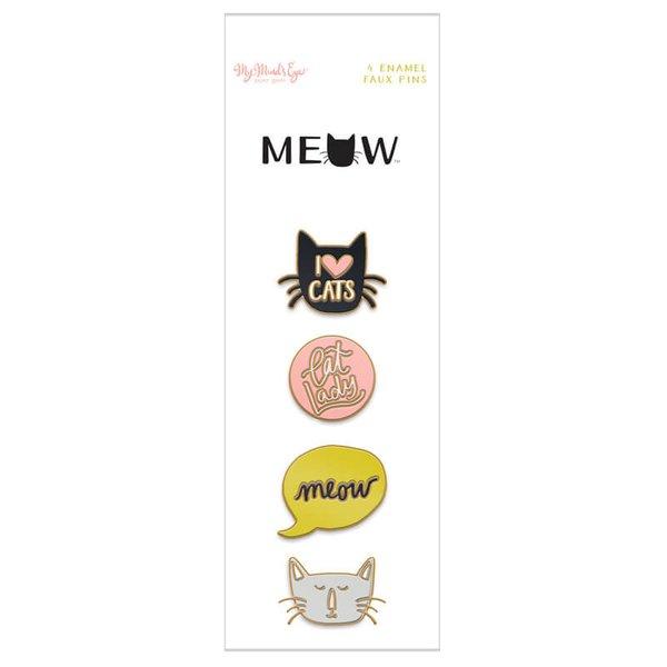 MyMindsEye Scrapbooking Enamel Pins Meow 4 Stück