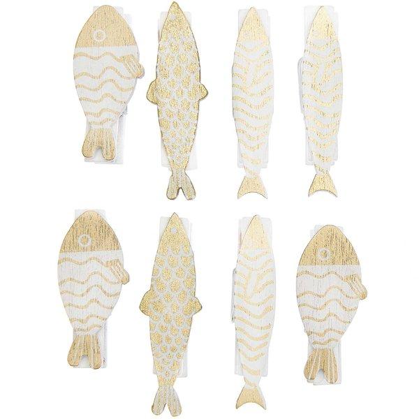Ohhh! Lovely! Dekoklammern Fisch Mix gold-weiß 7x35mm 8 Stück