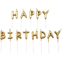 YEY! Let's Party Kerzen Happy Birthday gold