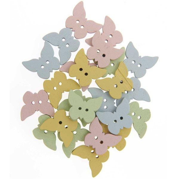 Knöpfe Schmetterling im Glas mehrfarbig 1,8cm 24 Stück